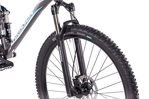 CHRISSON 29 Zoll Mountainbike Fully - Hitter FSF grau blau - Vollfederung Mountain Bike mit 30 Gang Shimano Deore Kettenschaltung - MTB Fahrrad für Herren und Damen mit Rock Shox Federgabel - 5