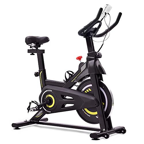 Bicicleta de velocidad con pantalla LCD y soporte para smartphone, ergómetro con accionamiento por correa, resistencia magnética, bicicleta interior