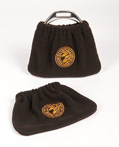 Harry's Horse Protezioni per staffa, protezione per staffa, in pile, 1 paio di protezioni per staffe, colore nero