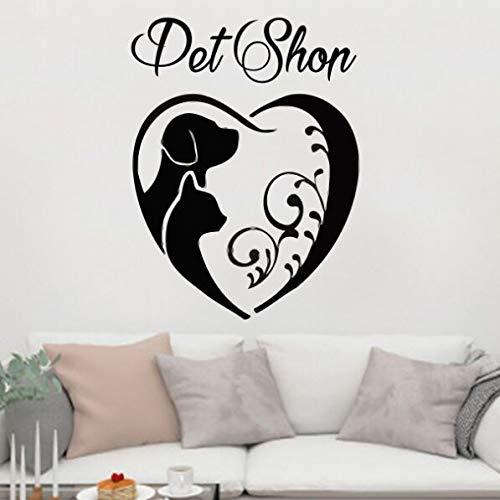 Tianpengyuanshuai Pet Shop décoration toilettage pour Animaux de Compagnie Vinyle Stickers muraux Amovible Peinture Murale pour Animaux de Compagnie 48X63 cm