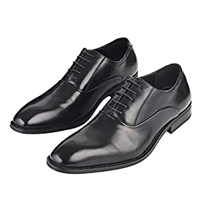 [Adolph] ビジネスシューズ 革靴 メンズ ストレートチップ 防滑 ZY-1006 (ブラック) 24.5cm-27.0cm (27, ブラック)