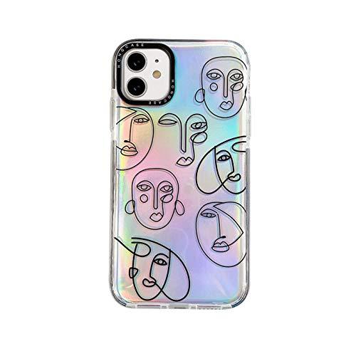 OcaseQ Funda Transparente Compatible con iPhone 12 Pro MAX Línea Arte Mujer Cara Resumen Caso con Tarjeta de Brillo Back Cover Antiarañazos de Ultrafina Suave TPU Anti Choque,Clear,12 Pro MAX