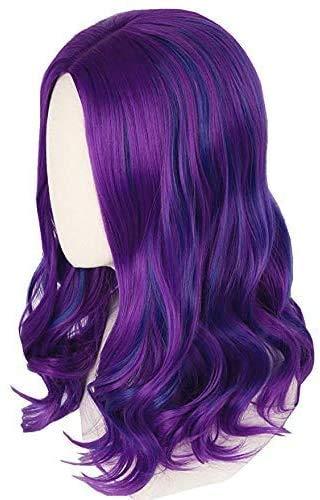 YAJIWU Peluca Mal Inspirado por los descendientes 3 for niñas niños púrpura y Azul de la Peluca de Halloween Disfraz Peluca (Color: Adultos) Pelucas Delanteras del cordón para Las Mujeres