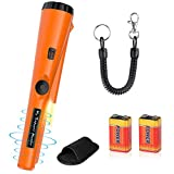 Metal Detector Pinpointer Waterproof Handheld Pin Pointer Wand Gold Treasure Hunting Unearthing Tool Accessories with Buzzer Vibration for Kids Adults Bonus 2 Pack Battery and Belt Holster
