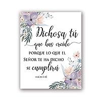 スペイン語聖書詩壁アート画像キャンバス絵画水彩画花はリビングルームの家の装飾のための聖書のポスターを印刷します-60x80cmx1フレームなし
