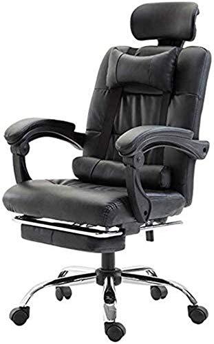 WJMLS Sedia da ufficio PU Gestore in pelle Gestione ufficio Sedia da ufficio regolabile ufficio ergonomico sedia da ufficio imbottita scrivania (Color : Black, Size : 59x66x111cm)