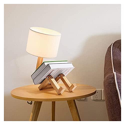 REOOHOUSE Lámpara de sobremesa LED candelabro de Estilo nórdico Fabricada en Madera Maciza, Pantalla de Tela Moderna y Sencilla (Color:luz cálida) (Color : Warmes Licht)