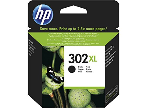HP 302XL High Yield Black Original Ink Cartridge 8.5ml 480páginas Negro cartucho de tinta - Cartucho de tinta para impresoras (Negro, Deskjet 1110, Deskjet 2130 AiO, Deskjet 2132 AiO, Deskjet 2134 AiO, Deskjet 3630 AiO, Officejet..., Alto, 8,5 ml, 480 páginas, Inyección de tinta)