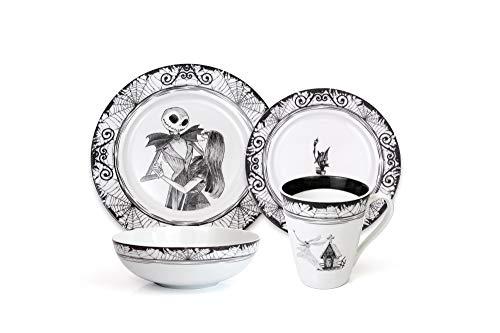 Robe Factory LLC The Nightmare Before Christmas 16-Piece Dinnerware Set | Ceramic Dish Set