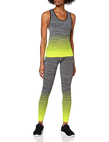 FM London Vest Top and Leggings Conjunto Ropa Deportiva, Amarillo (Yellow), única (Talla del Fabricante: 8-14) para Mujer
