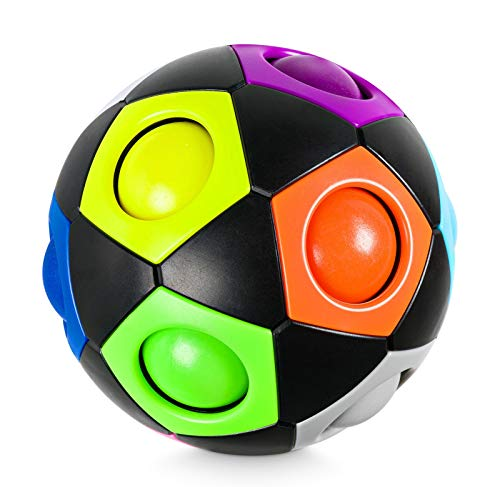 Lucky Humans® -Premium Regenbogenball- Geschicklichkeits-Spiel für Kinder und Erwachsene – Mitgebsel für Kinder-Geburtstag Gastgeschenk Spielzeug, Magic-Ball, Stressball, 3D-Puzzle, Fidget Toy
