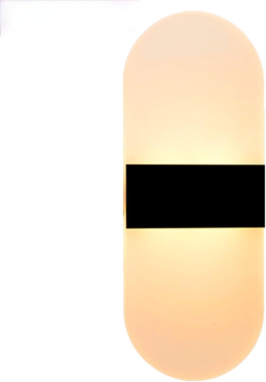 Moderne minimalistische LED Wand Lampe Nachttischlampe Gang Wand Schlafzimmer Wohnzimmer Wand Lampe kreative Europische 40  16 abgerundet wei warmwei 16w (Farbe   Schwarz-Rounded corner-12)