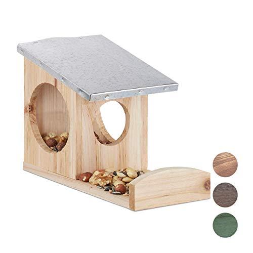 Relaxdays Eichhörnchen Futterhaus, Kobel aus Holz, wetterfestes Metall Dach, zum Aufhängen, Garten Futterstation, natur