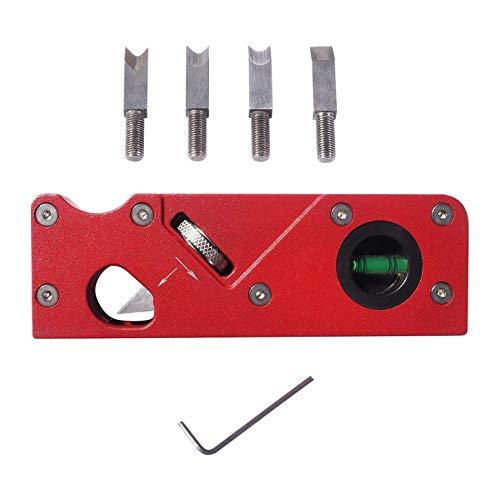 Baalaa Cuatro cabezales de corte y plano de chaflán para carpintería cepilladora de mano para cepillar y recorte de plano de esquina Radian rojo
