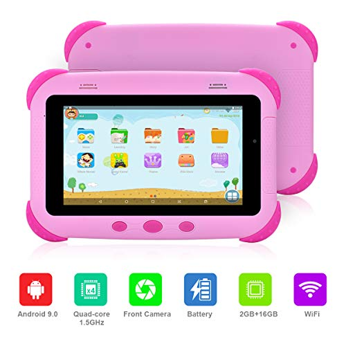 Latest Kids Tablet, 2019 Newest Edition with 2GB RAM Faster Speed, 16GB ROM, GMS Certified Android 9.0 Tablet for Children, Safety Eye Protection IPS Screen, Iwawa Kids apps, Parental Control (Pink)