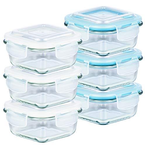 Grizzly Frischhaltedosen Glas 6 Stück Set quadratisch 320 ml Vorratsdosen mit Deckel