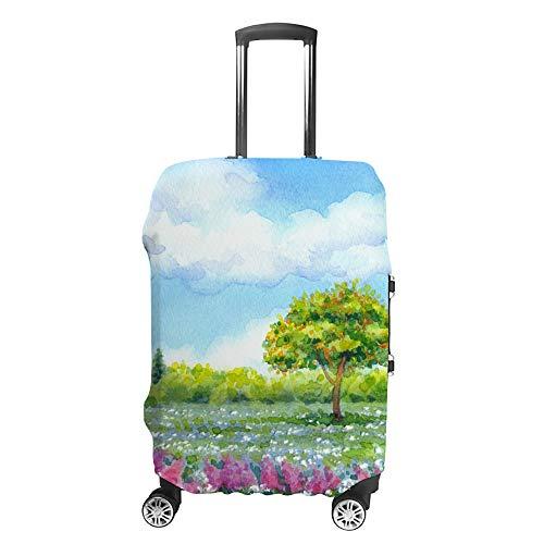 CHEHONG Funda para maleta, funda de equipaje, azul, cielo y flores, verde, funda...