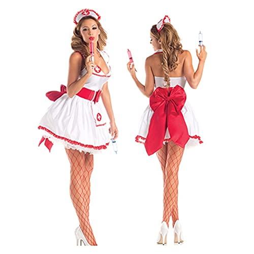 Lencería Sexy De Enfermera Para Mujer, Cosplay De Halloween Uniformes De Vestido De Enfermera Mujeres Adultos Enfermera Traviesa Disfraz De Médico Trajes De Cosplay De Mucama Sexy De Halloween