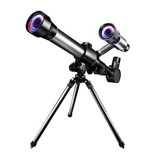 UNHU Teleskop Astronomie Erwachsene Kinder Astronomisches Teleskop 50mm Refraktor Teleskop für Einsteiger, tragbar Fernrohr mit Finder Scope und Stativ (Schwarz)