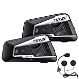 FOTUS 2pcs T9S-V3 Motorcycle Helmet Bluetooth Headset with Great Sound, 1400m Helmet Bluetooth Intercom with Wind Noise Cancellation, 3-Way Communication System for Snowmobile Off-Road