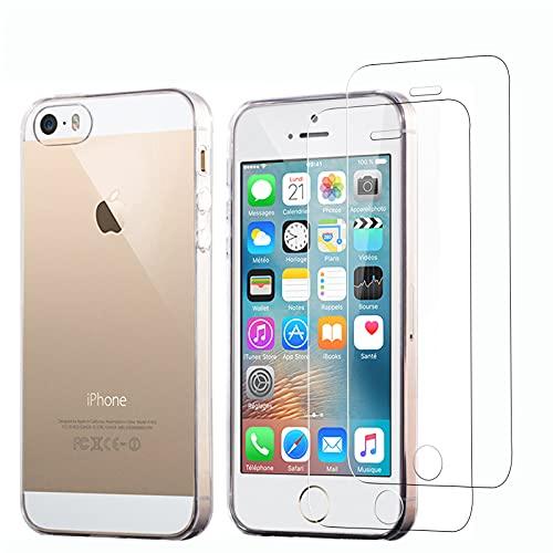 NEW'C Cover per iPhone 5, iPhone 5S e iPhone Se 2016 Gel TPU in silicone ultra trasparente e 2× vetro temperato per iPhone 5, iPhone 5S e iPhone Se 2016, Pellicola proteggi schermo
