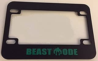 Beast Mode with Hulk Inside - Unique Design - Black w GREEN Motorcycle / Scooter License Plate Frame -