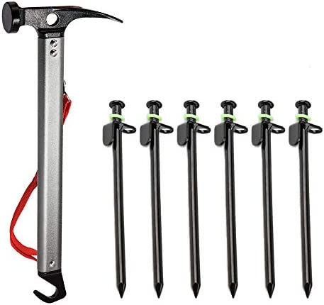 Tent Stake Hammer and Heavy Duty Tent Pegs Lightweight Camping Mallet with Forged Steel Tent product image