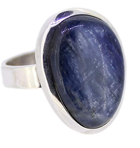 Kyanit Edelstein Ring Größe 58, 925er Silberring mit Disten
