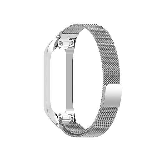 QULLOO Correa Reloj Compatible con Samsung Galaxy Fit 2 SM-R220,Correa de Acero Inoxidable de Malla Tejida Repuesto Pulsera de Metal Correa para Mujer y Hombres (Plata)