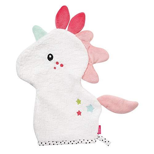 Fehn 057270 Waschhandschuh Einhorn / Waschlappen mit Tiermotiv für fröhlichen Badespaß, für Babys und Kinder ab 0+ Monaten