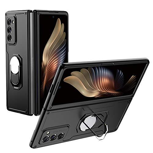 TingYR Hülle für Samsung Galaxy Z Fold 2 Handyhülle, um 360 Grad drehbarer Ringhalter, stoßfeste TPU/PC-Handyabdeckung, Schutzhülle für Samsung Galaxy Z Fold 2.(Schwarz)