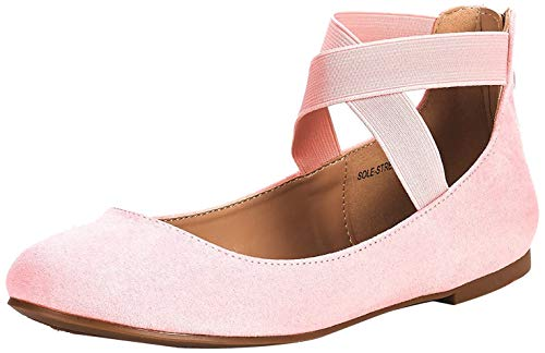 DREAM PAIRS Women's Sole_Stretchy Pink Fashion Elastic Ankle Straps Flats Shoes Size 5.5 M US