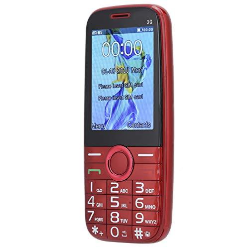 Dpofirs 3G Mini Teléfono Móvil de Llamadas para los Mayores, Teléfono Multifuncional con Altavoces Grandes para los Padres, 14500 mAh Batería de Gran Capacidad para Larga Duración(Rojo)