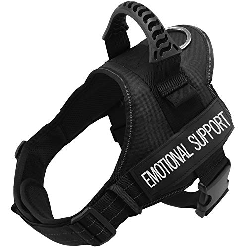 Fairwin Emotional Support Service Vest Dog Harness - Adjustable Nylon with Removable Reflective Patches for Emotional Support Dogs Large Medium Small Sizes (L: Chest 28-37''; Neck 23-29'', Black)