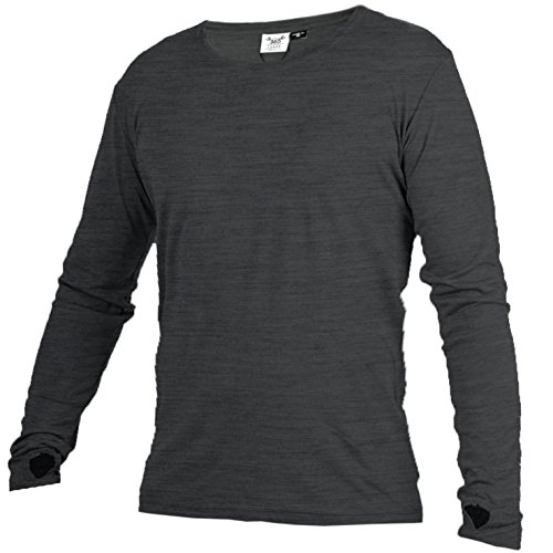 Merino 365 OG Longsleeve with Thumbloops, Mid-Weight, 230 GSM, 100% NZ Merino, Large, Charcoal