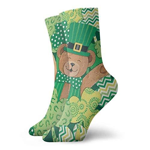 Dydan Tne Crew Socks Süße St.Patrick's Hut Teddybär Neuheit Knöchel Sport Kompressionssocken