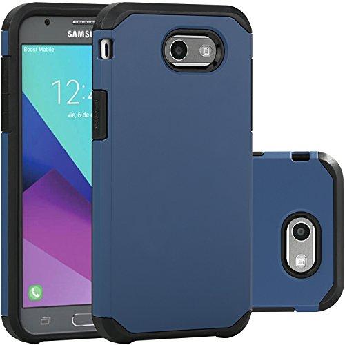 LUHOURI Samsung Galaxy J3 Emerge Case/J3 Prime/J3 2017/Amp Prime 2/Express Prime 2/Sol 2/J3 Luna Pro/J3 Eclipse/J3 Mission Case, Hybrid Armor Rugged Protective Case Cover Dark Blue