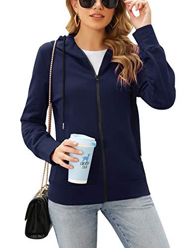 Irevial Damen Sweatjacke mit Kapuze Zip Hoodie Kapuzenjacke Basic Einfarbig Marine Medium
