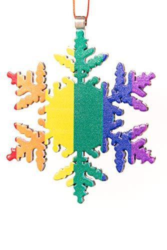 Collegiate Pulse Gay Pride Flag Snowflake Christmas Ornament