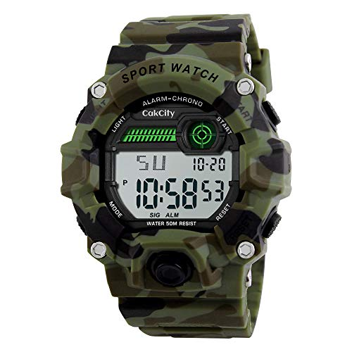 Boys Camouflage LED Sport Watch,Waterproof Digital Electronic Military Wrist Kids Sports Watch with Silicone Band Luminous Alarm Stopwatch Watches