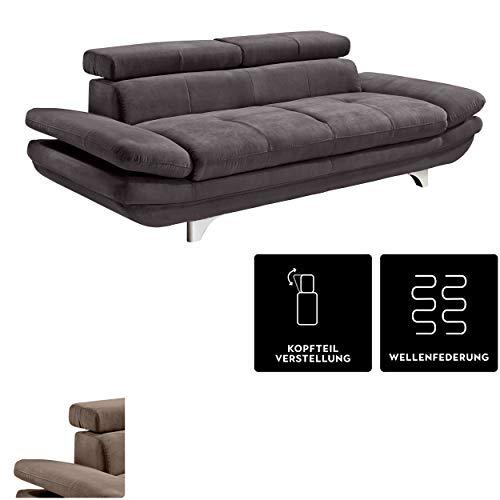 Mivano 3er-Sofa Enterprise / Dreisitzer-Couch mit Armteilfunktion und Kopfteilverstellung / 233 x 72 x 104 / Mikrofaser-Bezug, dunkelgrau