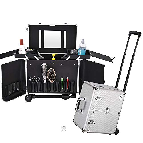 Byootique Clipper Trimmer Portable Mobile Barber Station Tool Box Rolling Makeup Hair Salon Stylist Train Case Key