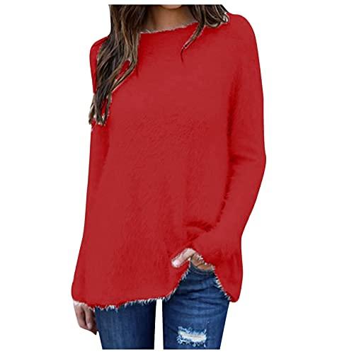 XUNN Damen Pullover Samt Einfarbig Rundhals Langarm Pullover Bluse Fraue Mode Langer Sweater Tops