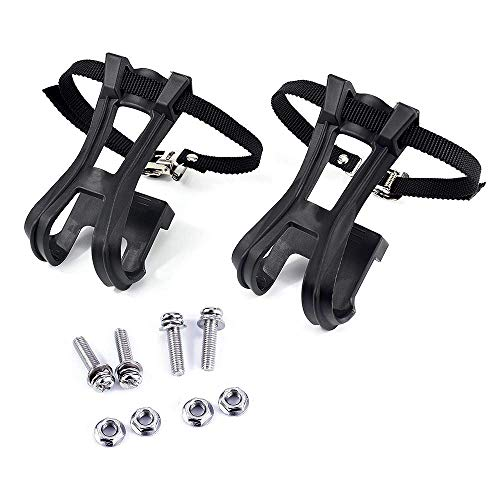1 Pair Toe Clips with Strap Belts Cycling MTB Road Mountain for Bicycle Peda (Black)