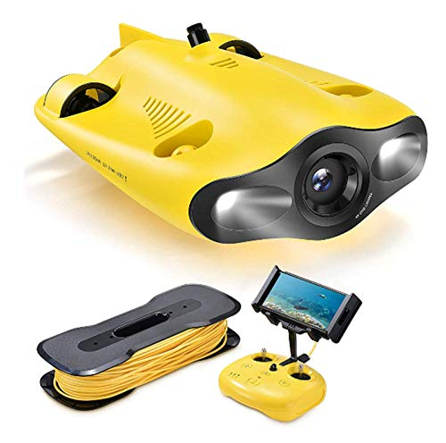 HEN'GMF Underwater Drone, Mini Underwater Drone (ROV) with 4K UHD Camera (100M Tether),D