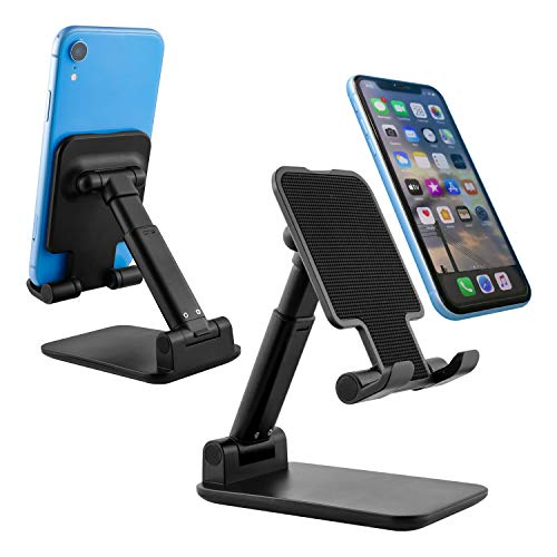BenRich Soporte para teléfono móvil, ajustable, para escritorio, grueso, apto para maletas, plegable y portátil, compatible con todos los teléfonos móviles/iPad/Kindle de 4 a 12 pulgadas, color negro