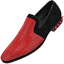 Amali Adkin, Men's Slippers - Mens Casual Shoes - Mens Slip On Shoes - Loafers for Men - Embellished Suede, Spiked Heel, Fashion and Designer Rhinestone Shoes; Color Red Size 13