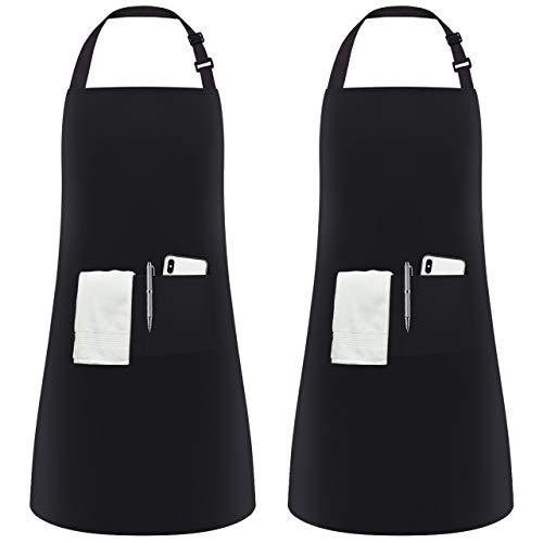 InnoGear 2 Stücke verstellbare Schürze mit 2 Taschen, Kochenschürze Küchenschürze für Küche, Restaurant, café (Schwarz Polyester)