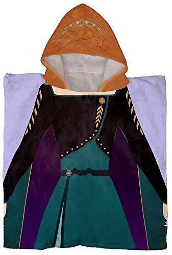 Jay Franco Disney Frozen Queen Anna - Poncho con capucha para baño/piscina/playa - Toalla de algodón súper suave y absorbente, medidas 60 x 28 cm (producto oficial de Disney)