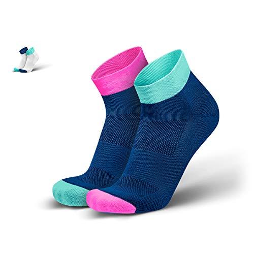 INCYLENCE Sibs gepolsterte Laufsocken kurz, leichte Running Socks, atmungsaktive low cut socks, Blasenschutz Kompressionssocken, mint, pink, dunkelblau 35-38